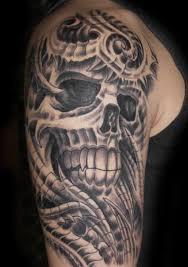 biomechanical skull on half sleeve