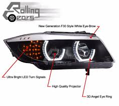 bmw headlights 3 series lhd halo projector f30 style headlights for bmw e90 e91 lci 3