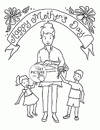 mom coloring pages happy mother and her kids mother u0027s day coloring page for kids