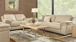 pictures of living rooms with leather furniture cindy crawford home grand palazzo beige leather 3 pc living room