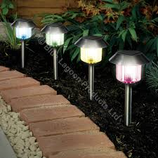 4 x colour changing solar power light led post outdoor lighting