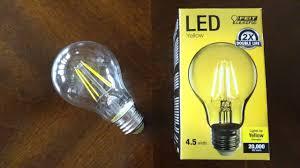 yellow led light bulbs feit 4 5watt yellow filament led light bulb youtube