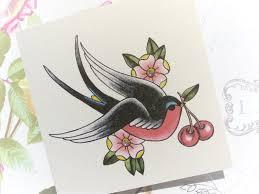 handmade birthday card swallow and cherry tattoo vickilicious