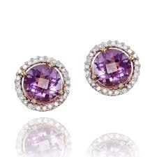 amethyst stud earrings amethyst and diamond stud earrings missesdressy