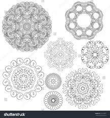 set vintage backgrounds guilloche ornamental circle stock vector