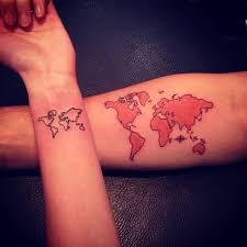famous world map tattoo on forearm tattooshunter com