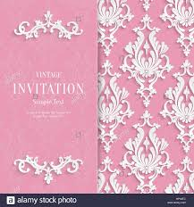 wedding invitation background vector pink floral 3d wedding invitation background template stock