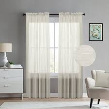 Semi Sheer Curtains Amazon Com Turquoize Natural Linen Blended Semi Sheer Curtains