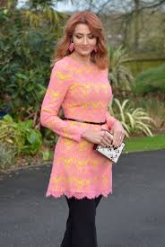 an award winning pink u0026 yellow lace dress over cropped trousers