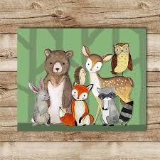 Raccoon Nursery Decor Woodland Animal Nursery Decor Fox Deer Raccoon Owl Hedgehog