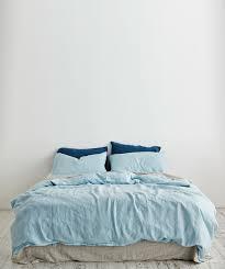 light blue linen duvet set