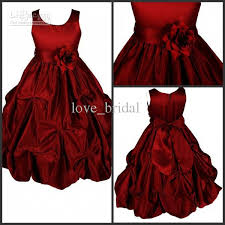 Dark Red Flower - 2015 flower dresses real pictures ball gown jewel hand made