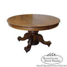 hastings antique solid oak round claw foot dining table solid