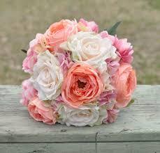 hydrangea wedding coral blush and pink hydrangea wedding bouquet made