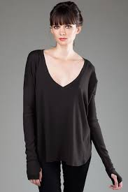 Sweater With Thumb Holes Eco Hybrid Spandex Jersey Oversized V Neck L S Top With Thumb Holes