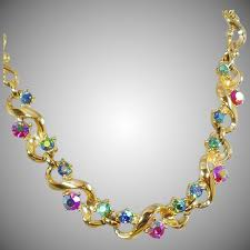 vintage jewelry choker necklace images Vintage colorful ab rhinestone choker necklace 1950s bold gold jpg