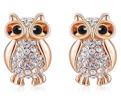 owl earrings rhinestones owl earring jewelry