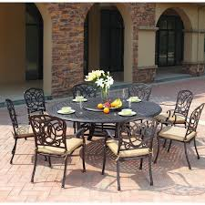 Round Table Patio Dining Sets - patio furniture dining set cast aluminum 71 u201d round table 10pc florence