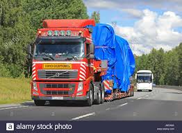 volvo semi trailer vihti finland july 21 2017 red volvo fh semi trailer of stock