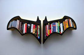 interior blask stained solid wood wall mounted bat bookcase
