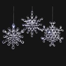 plastic clear beaded snowflake ornament set of 3 co uk