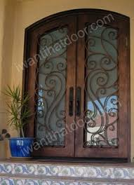 fleur de lis wrought iron front entry door stained glass