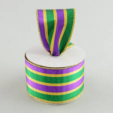 mardi gras ribbon 2 5 mardi gras stripe ribbon 10 yards rm9651ap craftoutlet