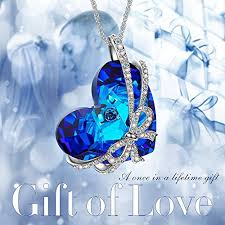 blue heart crystal necklace images Heart of ocean valentines day gifts necklace with swarovski crystals jpg