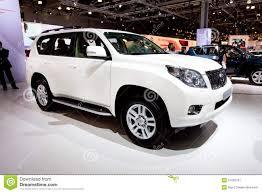 tayota in english white jeep car tayota land cruise prado editorial photography