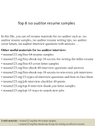Associate Auditor Cover Letter Top8isoauditorresumesamples 150528050909 Lva1 App6892 Thumbnail 4 Jpg Cb U003d1432789789