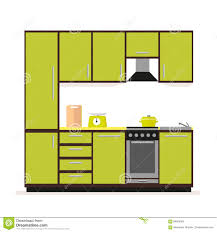 Kitchen Set Kitchen Set Modern Kitchen Furniture In A Flat Style Isolated On