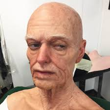 old age test makeup prior to wig application 9 piece silicone