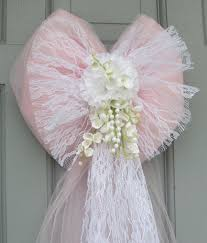 bows for wedding chairs wedding pew bows pink tulle with white lace and flowers bow