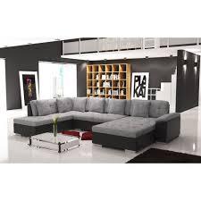 canapé famille nombreuse canapé d angle panoramique smile tissu et simili cuir gris et noir