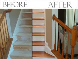 pictures of wood stairs converting carpeted stairs to hardwood