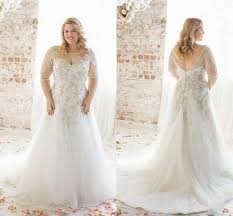 plus size wedding dresses cheap plus size wedding dresses 2016 boat neck half sleeve appliques