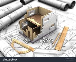 house plan drawings 3d illustration twostory house plan drawings stock illustration