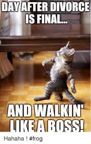 Memes About Divorce - day after divorce is final and walkin like a boss hahaha frog
