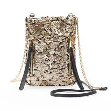 Juicy Couture Home Decor Couture Double Zipper Sequined Phone Crossbody Bag