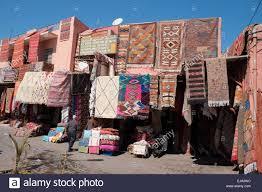 moroccan rug and carpet shops in the medina of marrakech morocco