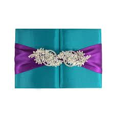teal wedding invitations light teal color silk wedding folder large brooch embellishment