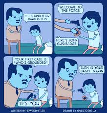 Dad Comic Meme - dad gives son a gun badge for his first case in comic by weedhitler