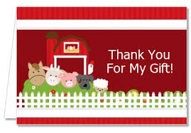 birthday party thank you cards farm animals thank you notes