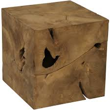 teak wood side table root cube teak wood side table free shipping today overstock com