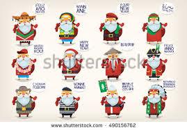 santa claus flat vector icons free vector stock