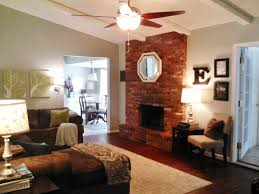 red brick fireplace mantel decorating ideas with mirror above