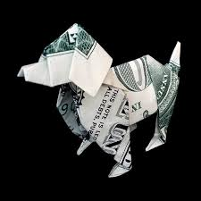 new year dollar bill gift money origami dog made out of real one by trinket2shop