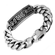man hand bracelet images Stainless steel man bracelet punk link brand silver wrap jpg