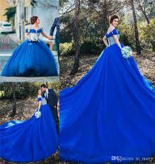 royal blue cinderella ball gown wedding dresses 2016 off shoulder