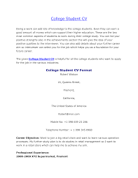 Best Resume For College Students by Format Resume Format For College Students